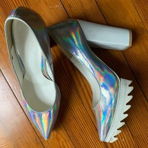 Shoes - Holographic rubber sole heels size 6.5